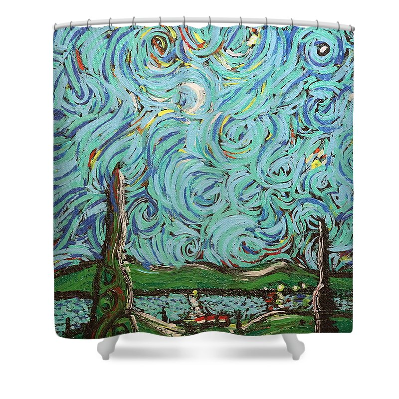 Landscape Shower Curtain featuring the painting Moonlight Sonata by Stefan Duncan
