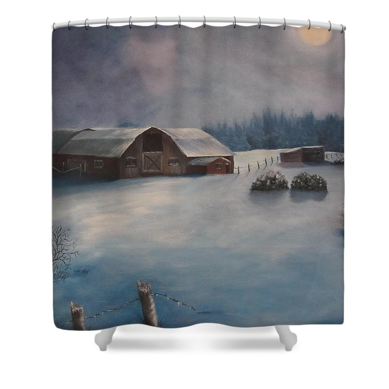 Barn Shower Curtain featuring the painting Moonlight Whispers by Terry Boulerice