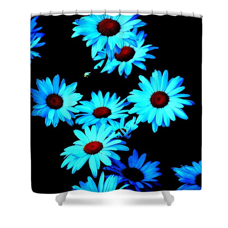 Moon Shower Curtain featuring the digital art Moonlit Daisies by Kathy Sampson