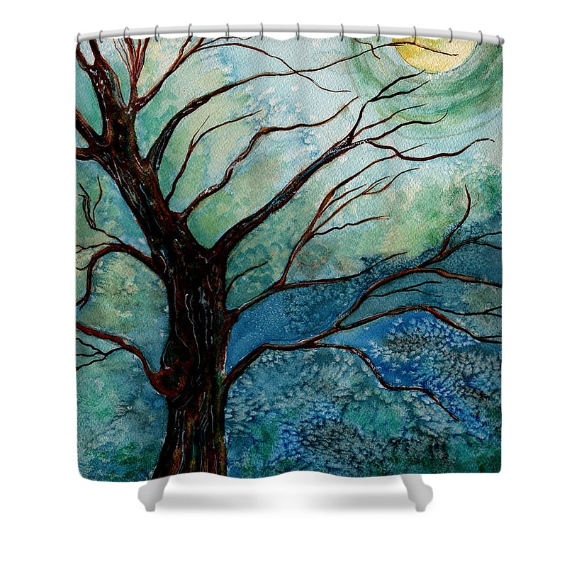 Landscape Shower Curtain featuring the painting Moonrise In The Wild Night by Brenda Owen