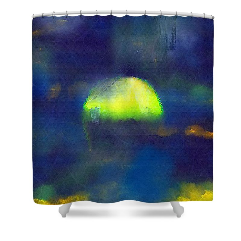 Sea Shower Curtain featuring the painting Moonrise Primitive by RC DeWinter