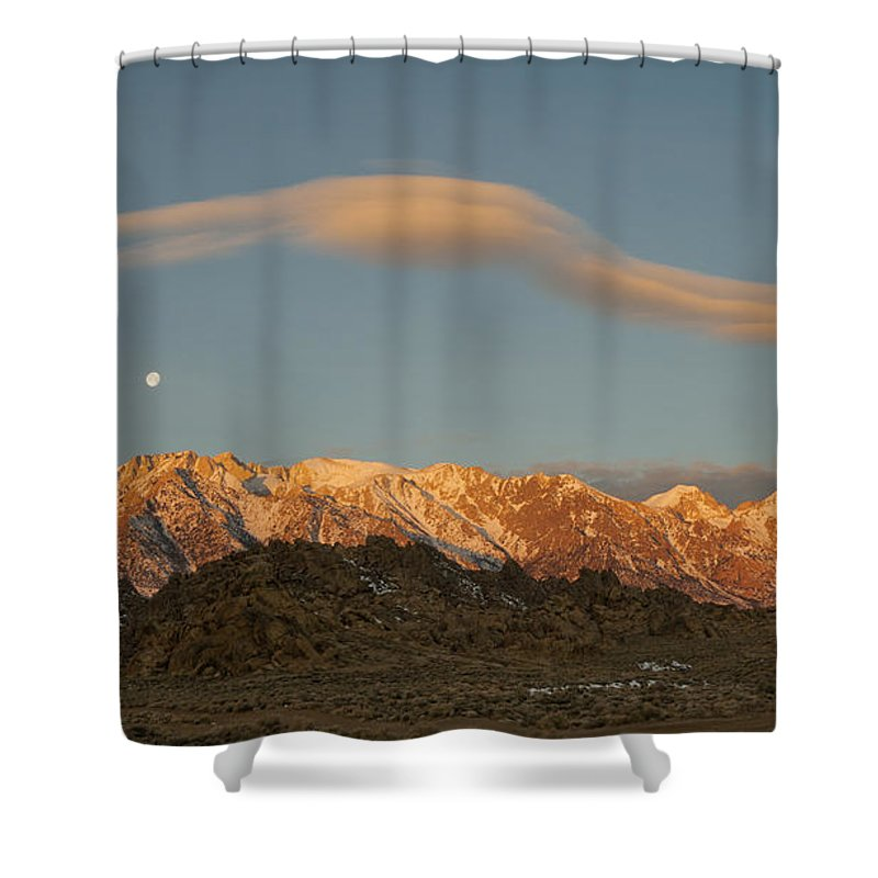 Moonset Shower Curtain featuring the photograph Moonset Over Mt Whitney Img 0637 by Greg Kluempers