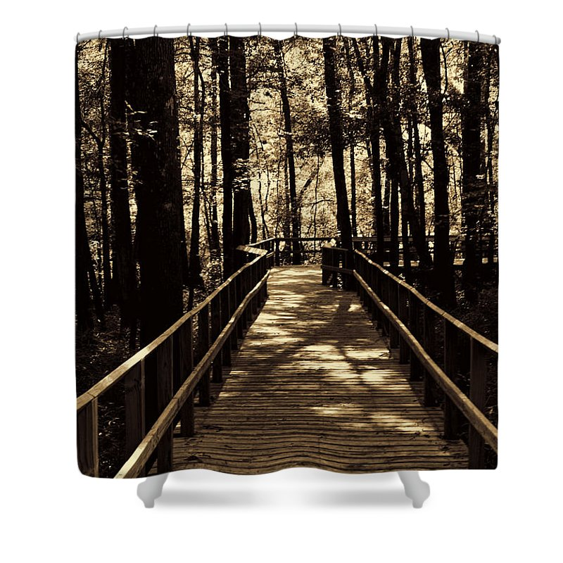 Swamp Bridge Shower Curtain featuring the photograph Moores Creek Battlefield Nc Swam Bridge by Tommy Anderson