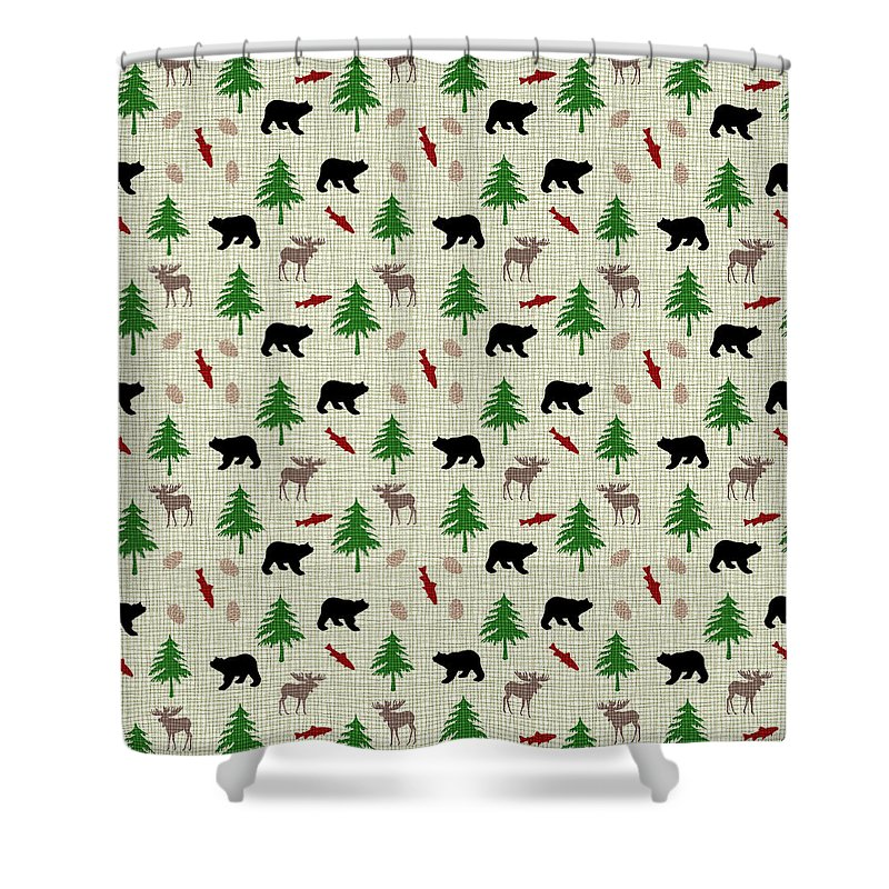 Moose Shower Curtain Featuring The Mixed Media And Bear Pattern By Christina Rollo