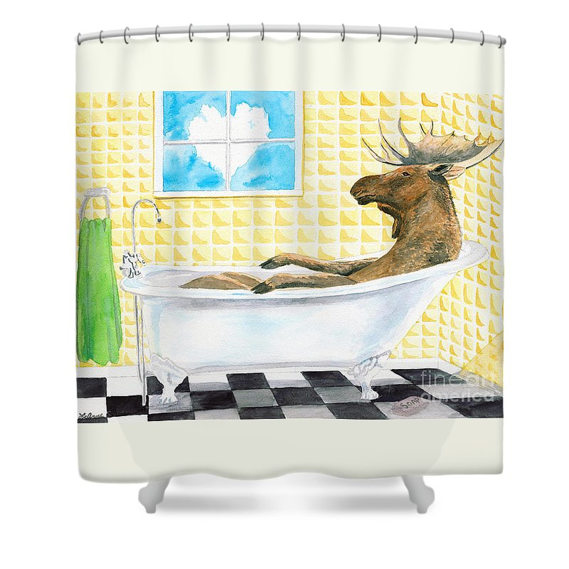 Moose Shower Curtain featuring the painting Moose Bath by LeAnne Sowa