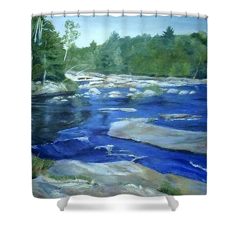 Moose River Shower Curtain featuring the painting Moose River Lyons Falls by Sheila Mashaw