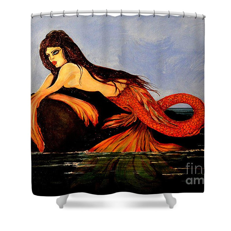Mermaid Shower Curtain featuring the painting Mora by Valarie Pacheco