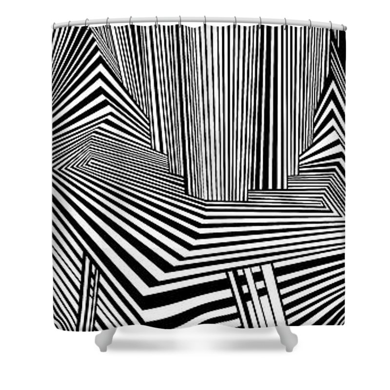 Dynamic Black And White Shower Curtain featuring the painting More Than Conspiracies by Douglas Christian Larsen