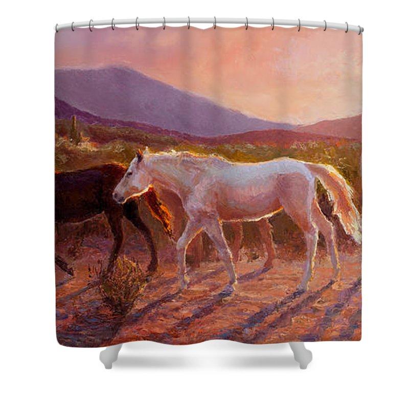 Arizona Art Shower Curtain featuring the painting More Than Light Arizona Sunset And Wild Horses by Karen Whitworth