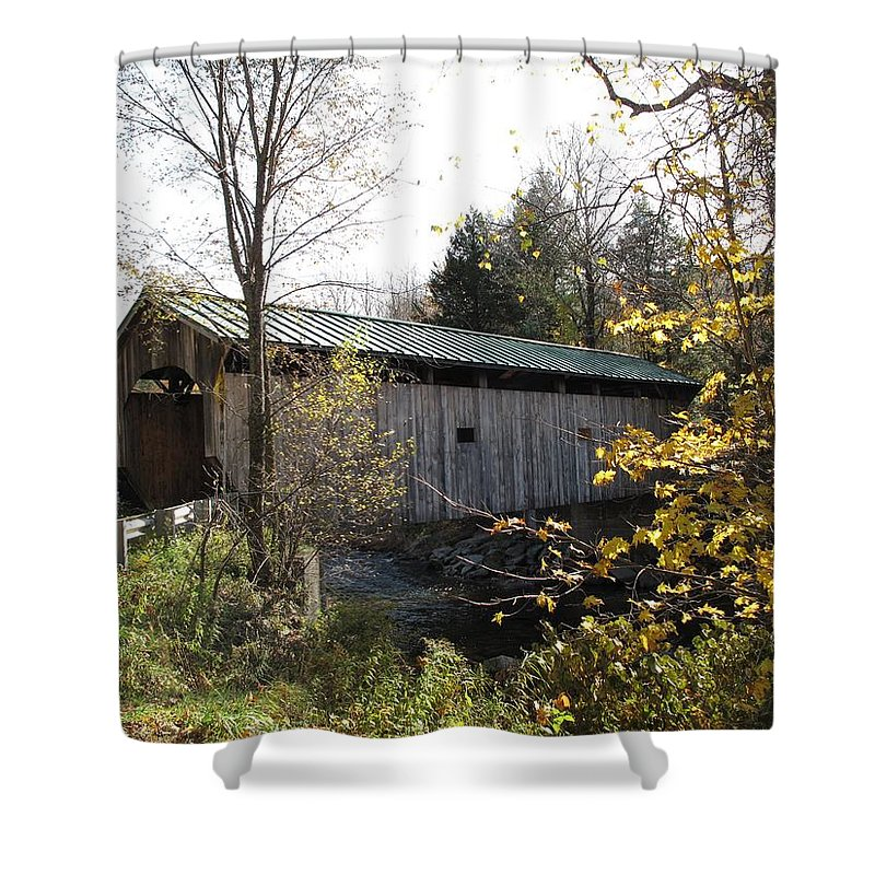 Covered Bridge Shower Curtain featuring the photograph Morgan Bridge Belvidere Junction Vermont by Barbara McDevitt