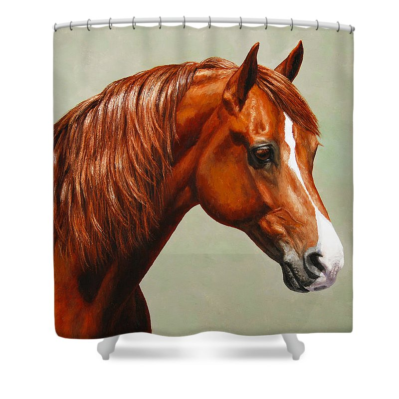Horse Shower Curtain featuring the painting Morgan Horse - Flame by Crista Forest