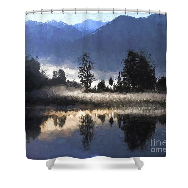 Lake Matheson Shower Curtain featuring the photograph Morning At Lake Matheson by Sheila Smart Fine Art Photography