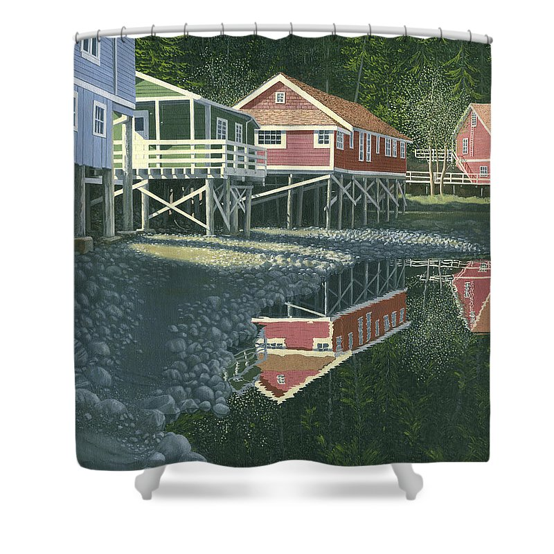 Landscape Shower Curtain featuring the painting Morning At Telegraph Cove by Gary Giacomelli