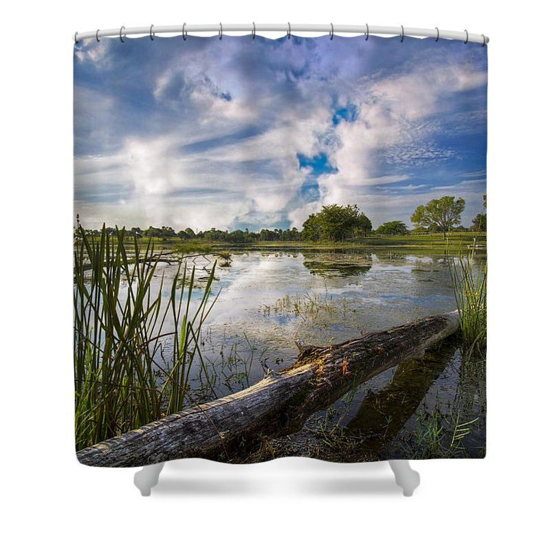 Clouds Shower Curtain featuring the photograph Morning Calm by Debra and Dave Vanderlaan