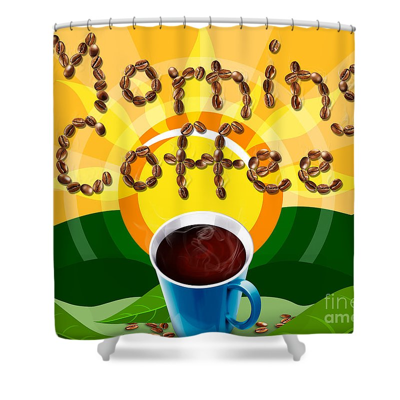 Natural Shower Curtain featuring the digital art Morning Coffee by Peter Awax