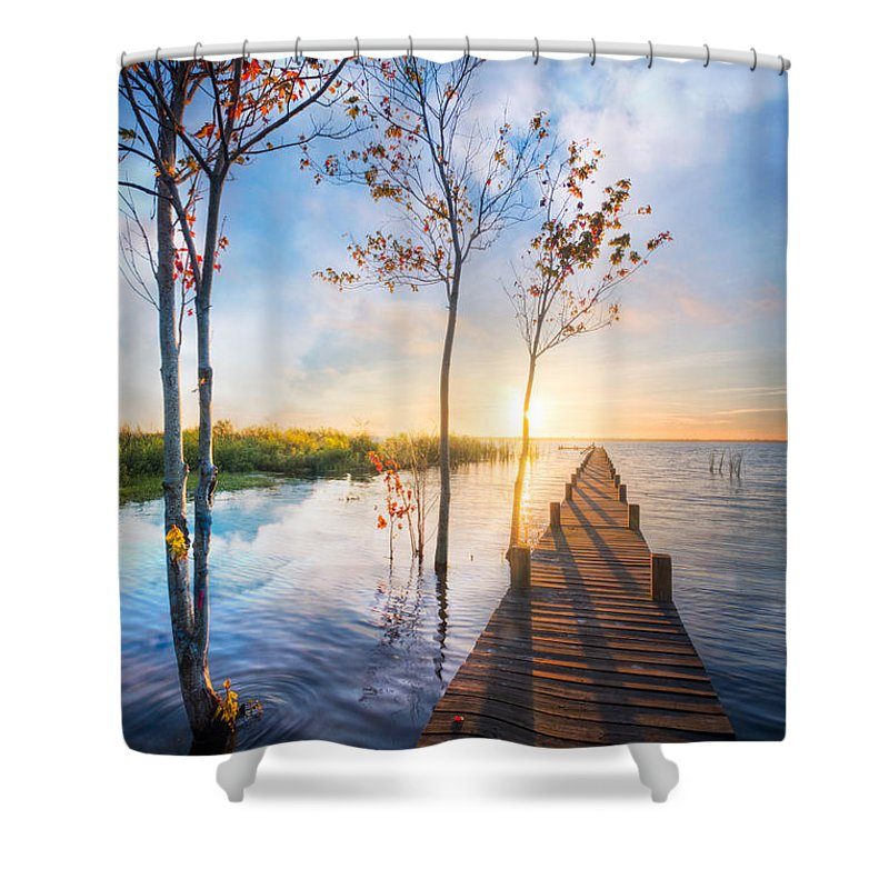 Clouds Shower Curtain featuring the photograph Morning Dreams by Debra and Dave Vanderlaan