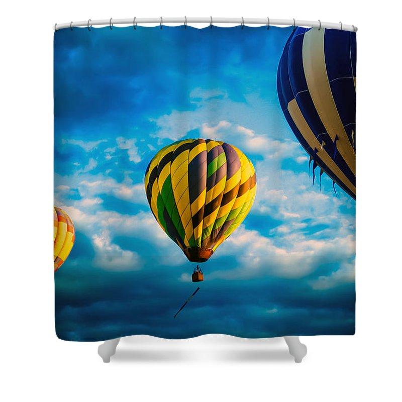 Hot Air Balloon Shower Curtain featuring the photograph Morning Flight Hot Air Balloons by Bob Orsillo