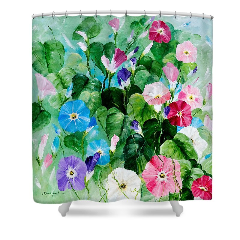 Blue Morning Glories Shower Curtain featuring the painting Morning Glory Bouquet by Linda Rauch