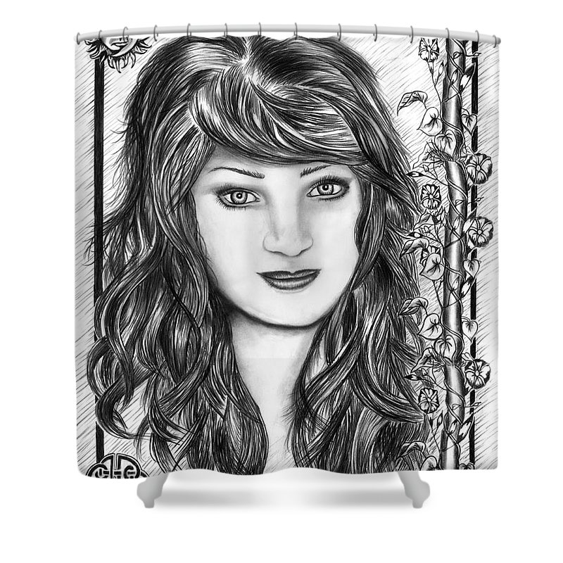 Morning Glory Shower Curtain featuring the drawing Morning Glory by Peter Piatt