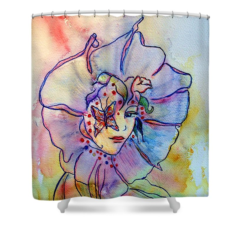 Floral Shower Curtain featuring the painting Morning Glory by Robin Monroe