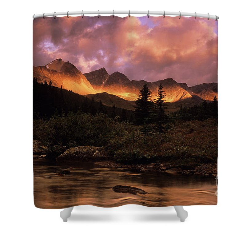 Mountain Shower Curtain featuring the photograph Morning Light Maligne Pass by Bob Christopher