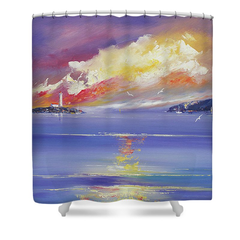 Seascapes Shower Curtain featuring the painting Morning Light by Miroslav Stojkovic