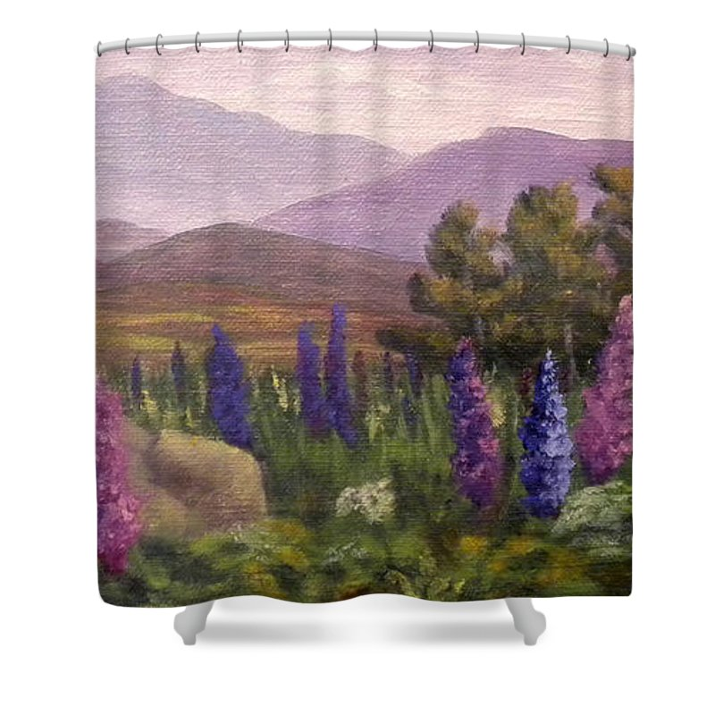 Lupines Shower Curtain featuring the painting Morning Lupines by Sharon E Allen