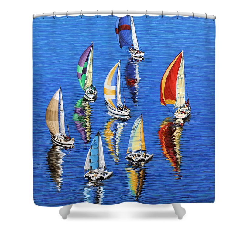 Ocean Shower Curtain featuring the painting Morning Reflections by Jane Girardot