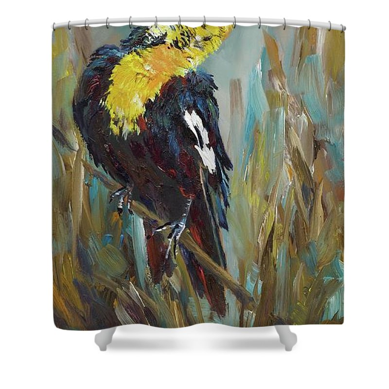 Yellow Headed Blackbirds Shower Curtain featuring the painting Morning Song by Mia DeLode