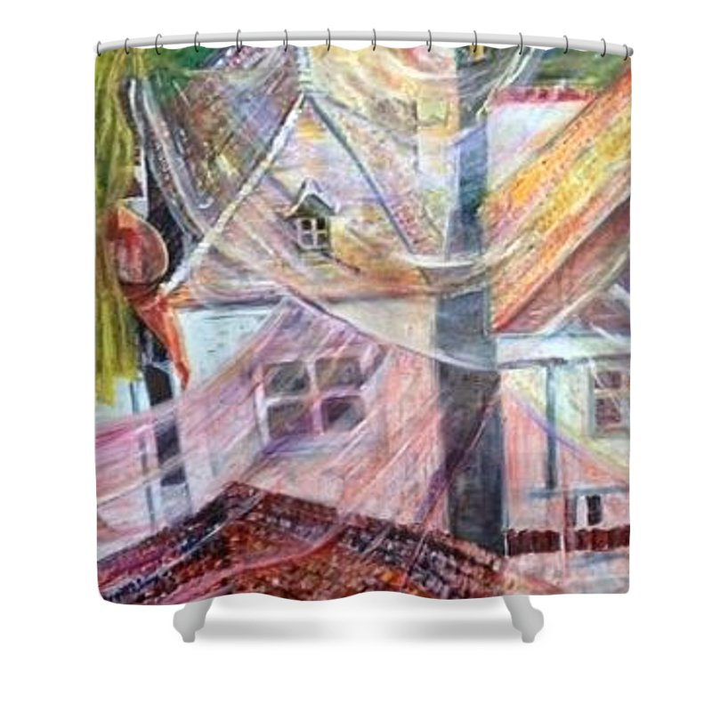 Village Shower Curtain featuring the painting Morning Sunrise by Peggy Blood