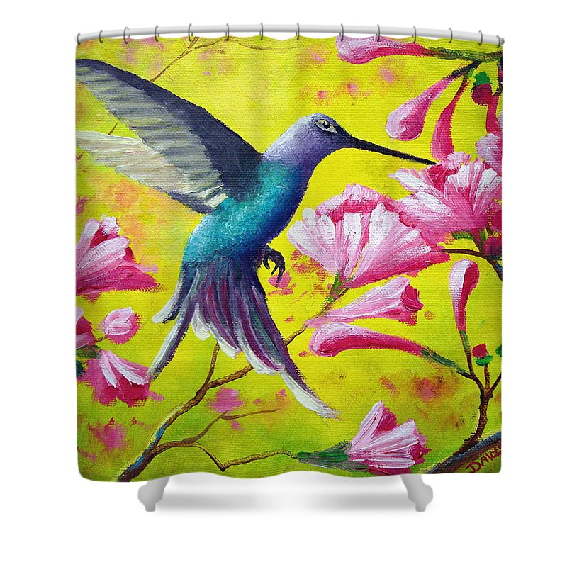 Hummingbird Shower Curtain featuring the painting Morning Sweets by David G Paul