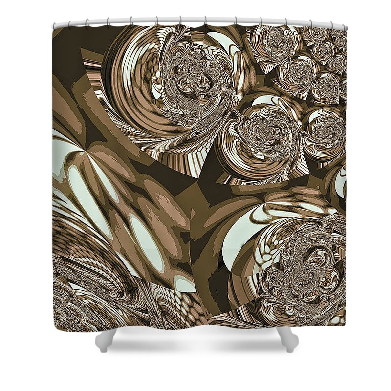 Moroccan Shower Curtain featuring the digital art Moroccan Lights - Brown by Absinthe Art By Michelle LeAnn Scott