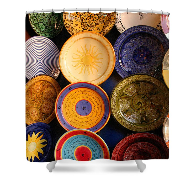 Morocco Shower Curtain featuring the photograph Moroccan Pottery On Display For Sale by Ralph A Ledergerber-Photography