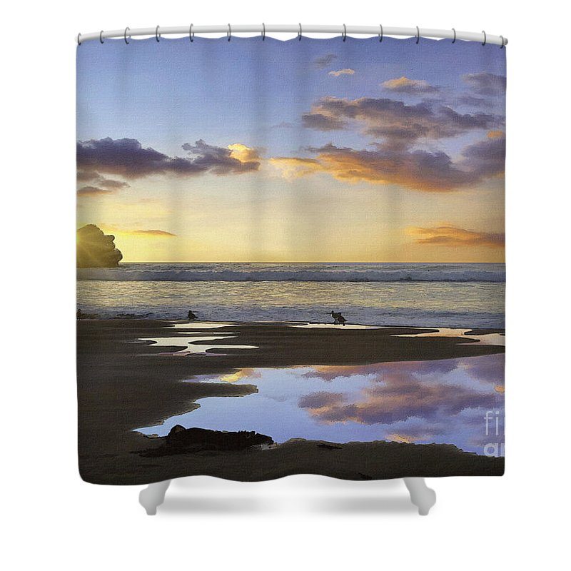 Morro Rock Park Sunset Shower Curtain featuring the digital art Morro Rock Reflection by Sharon Foster