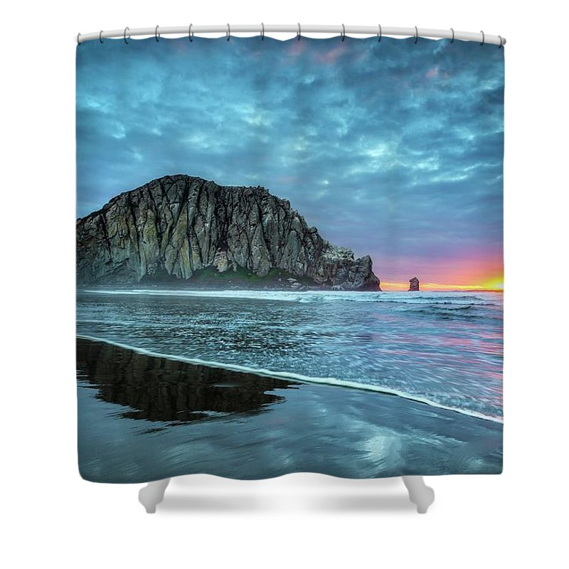 Tranquility Shower Curtain featuring the photograph Morro Sunset by Tom Grubbe