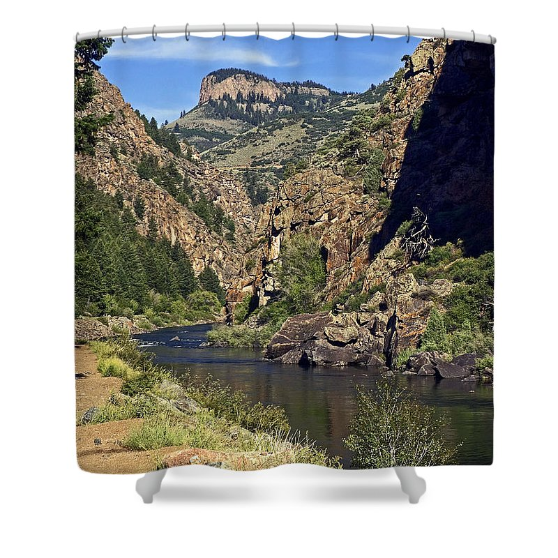 Morrow Point Reservoir Shower Curtain featuring the photograph Morrow Point Reservoir by Sally Weigand
