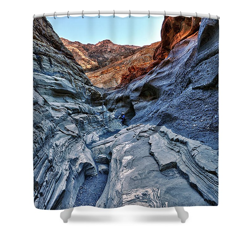 mosaic Canyon Shower Curtain featuring the photograph Mosaic Canyon In Death Valley by Angela Stanton