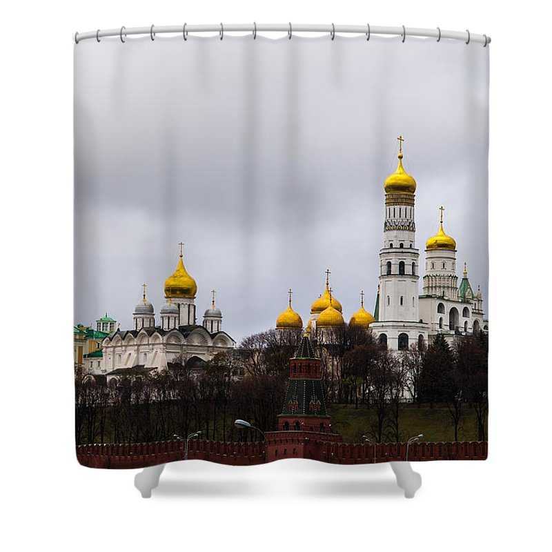 Archangel Shower Curtain featuring the photograph Moscow Kremlin Cathedrals - Featured 3 by Alexander Senin