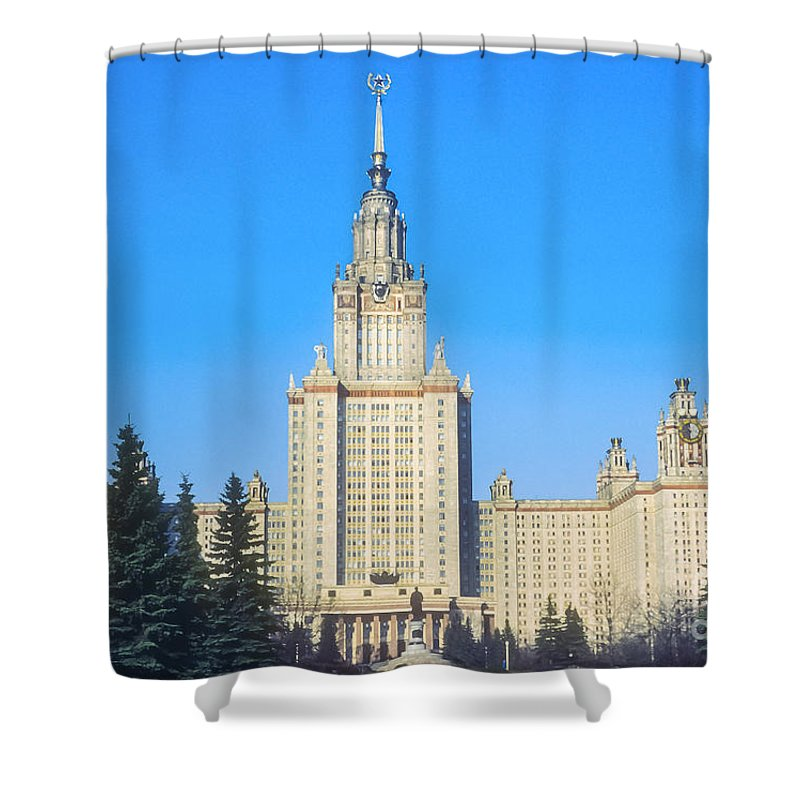Moscow State University Universities School Schools Structure Structures Building Buildings Architecture Shower Curtain featuring the photograph Moscow State University by Bob Phillips