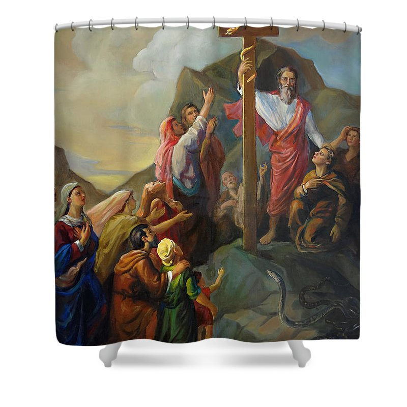 Moses Shower Curtain featuring the painting Moses And The Brazen Serpent - Biblical Stories by Svitozar Nenyuk