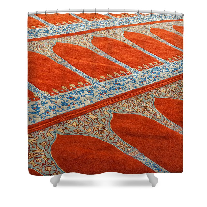Carpet Shower Curtain featuring the photograph Mosque Carpet by Antony McAulay