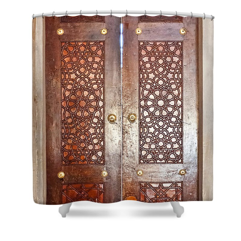 Door Shower Curtain featuring the photograph Mosque Doors 03 by Antony McAulay
