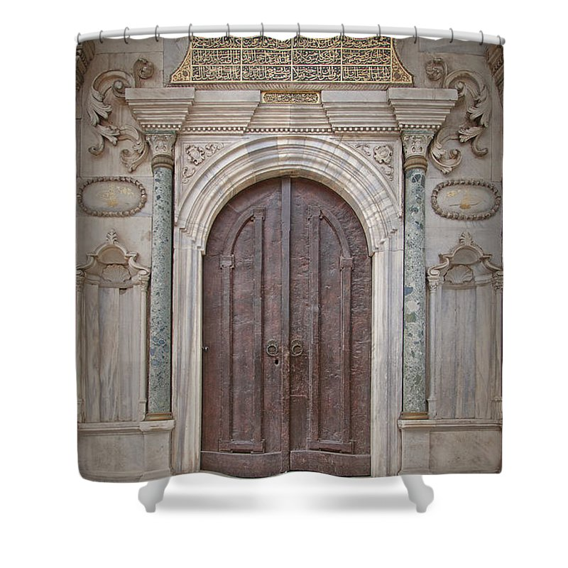 Door Shower Curtain featuring the photograph Mosque Doors 13 by Antony McAulay