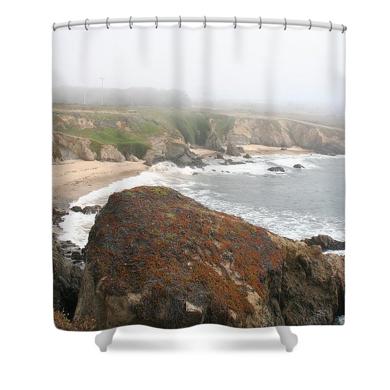 Coast Shower Curtain featuring the photograph Mossy Rocks by Christiane Schulze Art And Photography