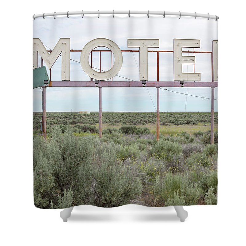 Grass Shower Curtain featuring the photograph Motel Sign In Field Of Sage Brush, Out by Mint Images