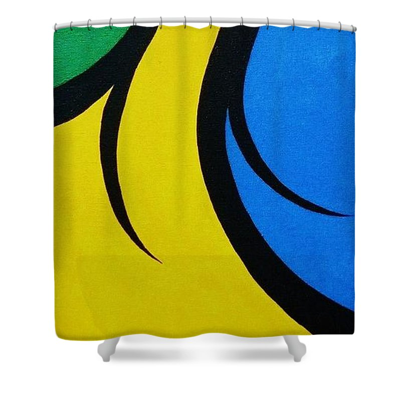 Abstract Shower Curtain featuring the painting Mother and Child by Micah Guenther