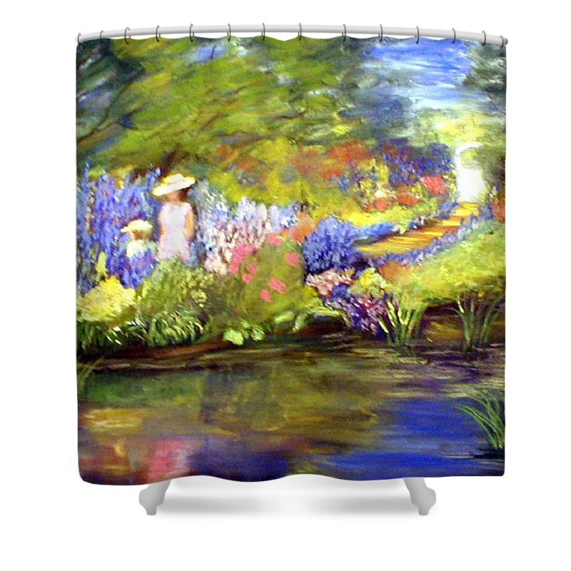 Flower Garden Shower Curtain featuring the painting Mother And Daughter by Gail Kirtz