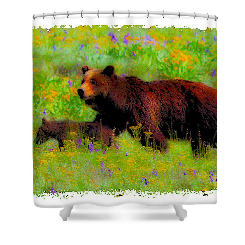 Bear Family Shower Curtain featuring the photograph Mother Bear And Cub In Meadow by Jerry Cowart