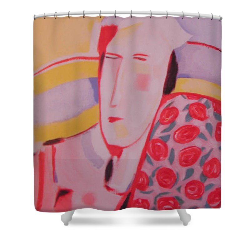 Woman With Rose Patterned Shawl Shower Curtain featuring the painting Mother by Jelila