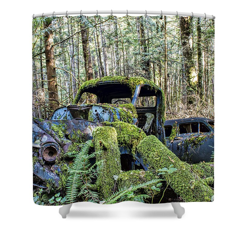 Old Cars Shower Curtain featuring the photograph Mother Nature Rules Supreme by Peggy Collins